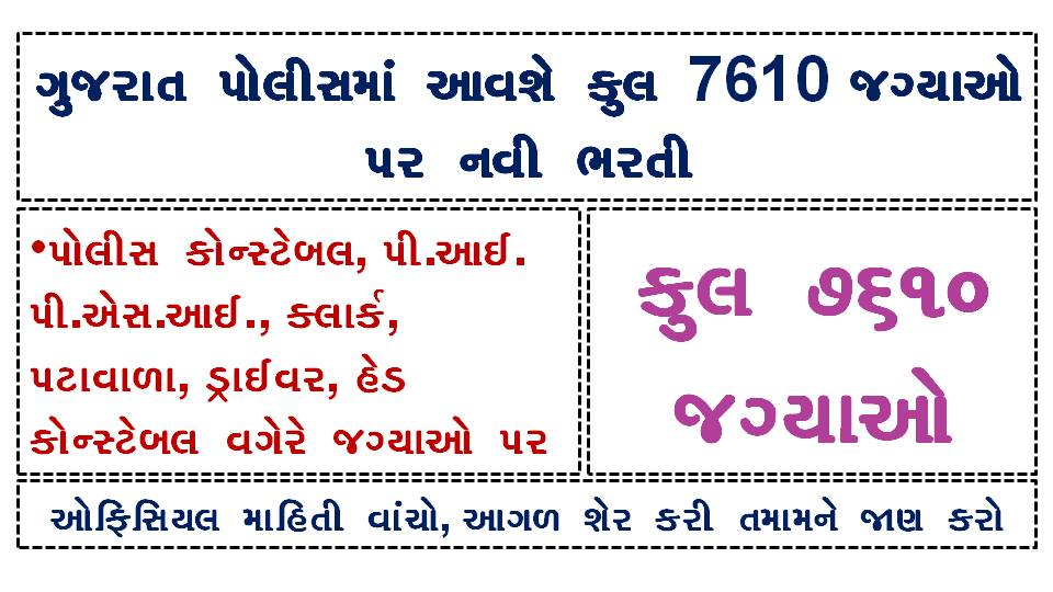 [Upcoming Gujarat Police Bharti] 7610 Total Vacancies Sanctioned in Gujarat Police Department